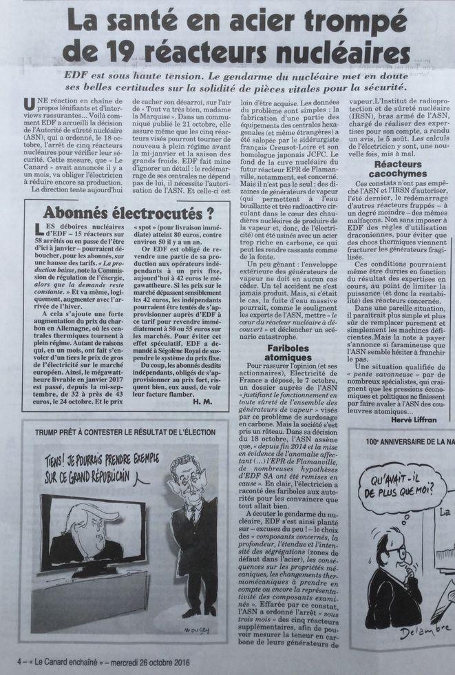 """9-On a appris lundi que la centrale nucléaire de Golfech (Tarn-et-Garonne) a libéré dans l'atmosphère des rejets radioactifs supérieurs à la limite autorisée pendant """"deux minutes"""", selon EDF, qui ajoute """"qu'aucun impact sur l'environnement ni pour le personnel du site"""" n'a été mesuré. Au même moment, on apprend que de nombreux réacteurs nucléaires seraient défectueux en France."""