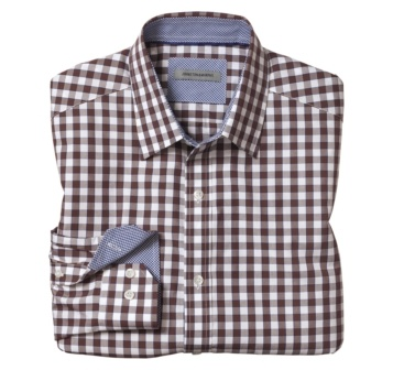 Johnston & Murphy: TAILORED FIT FRAMED GINGHAM SHIRTS - White/Brown: Gingham Shirt