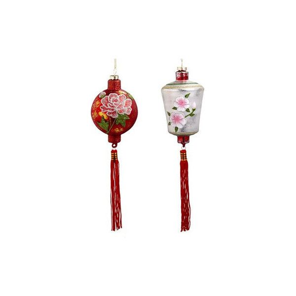 Chinese Lantern Ornament Set ❤ liked on Polyvore featuring home, home decor, holiday decorations, asian and painted ornaments