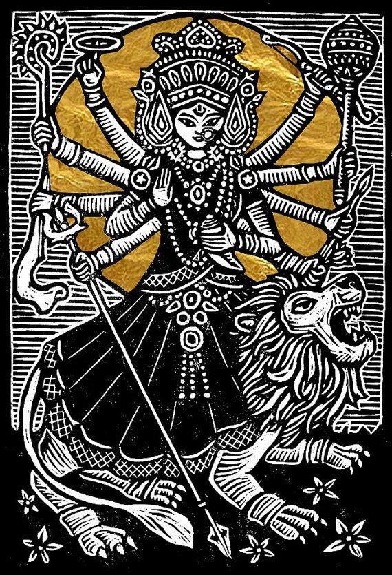 Durga Woodblock Print by WoodcutEmporium on Etsy, $50.00