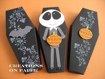 creations on paper halloween coffin treat boxes - Halloween Treat Holders