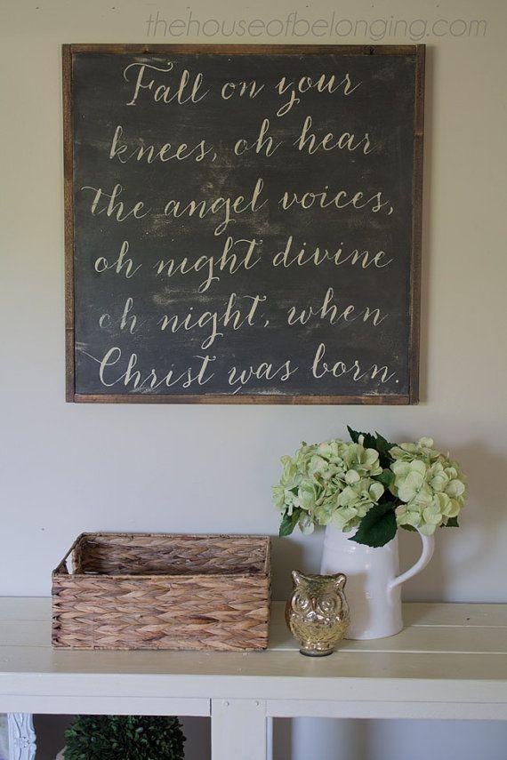 O Holy Night! #Christian #Christmas #chalkboard #decor #wallhanging #holiday