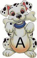 Alfabeto Dálmatas gif muito lindo!!   GALERIA DE ALFABETOS: ESCOLHA O ALFABETO E CLIQUE SOBRE ELE