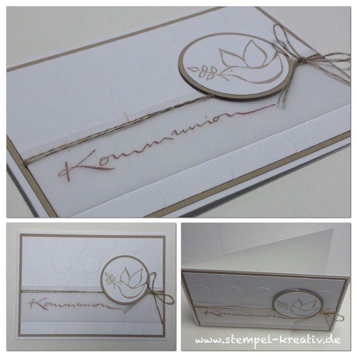 Kommunionkarte mit Taube (die Stempel sind von HeinDesign und Alexandra Renke)