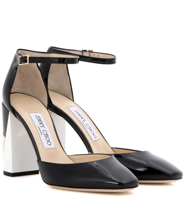 Pumps Mabel 95 aus schwarz-weiß-goldfarbenem Lackleder By Jimmy Choo