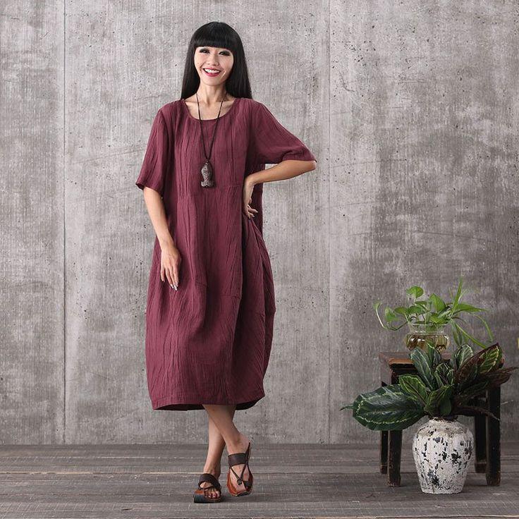 Women summer short sleeve casual loose pullover linen&viscose dresses