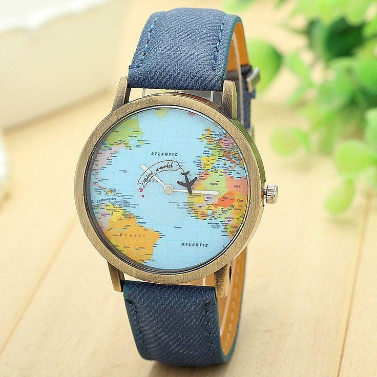 Best Deal World Map Watch By Plane Watches Women Men Denim Fabric Watch Quartz Relojes Mujer Relogio Feminino Gift free Shipping