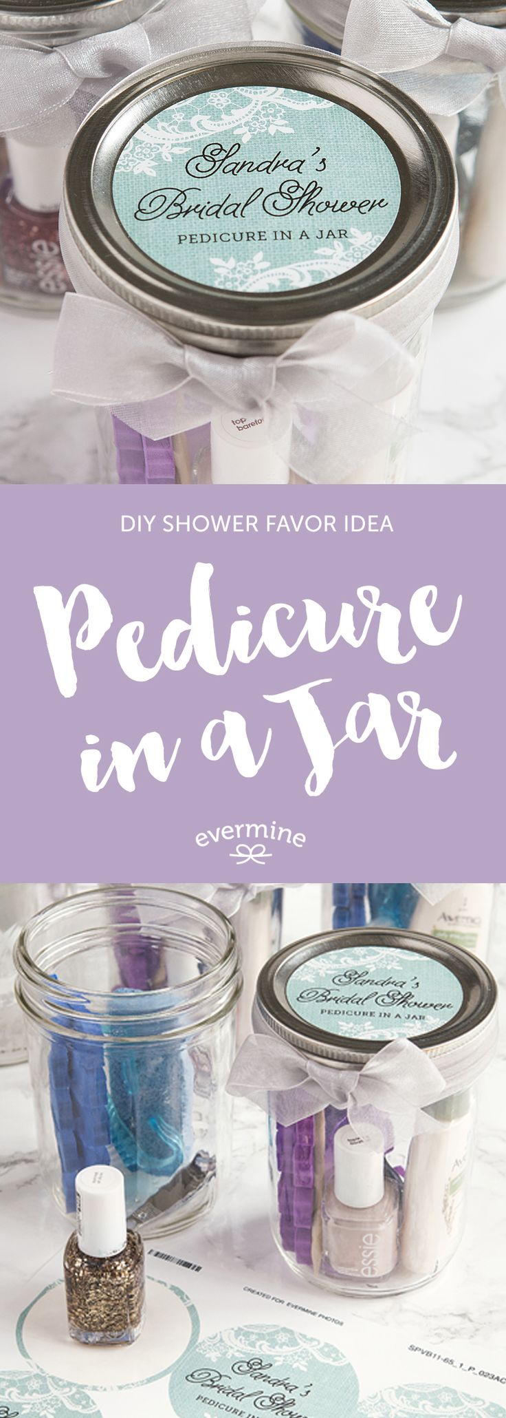Pedicure in a Jar makes the perfect bridal shower favor, or prize for game winners. Your guests will love these and they can be super cheap to create! Learn how on the Evermine Occasions Blog