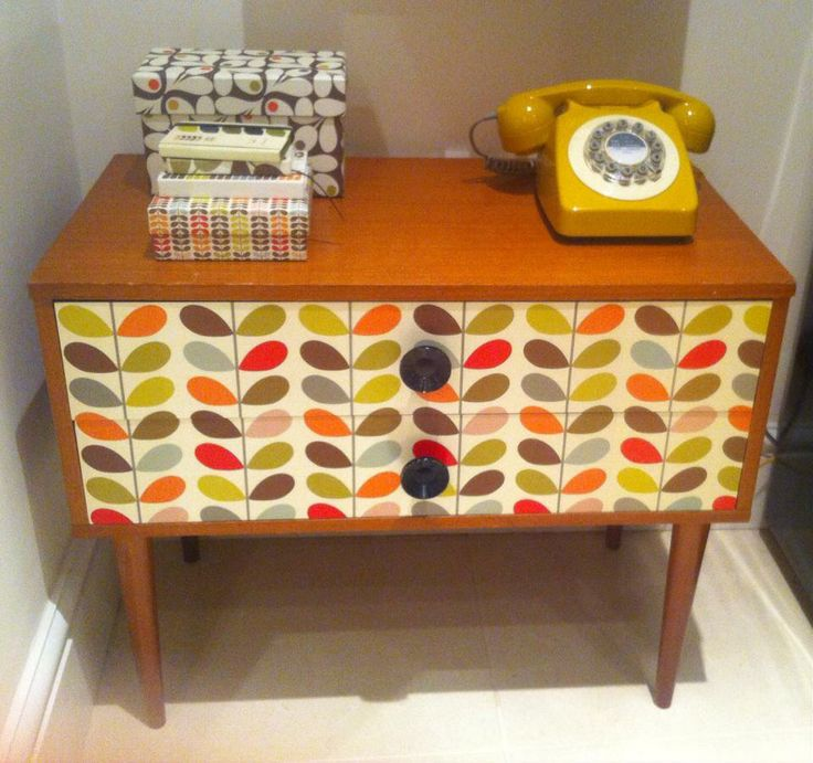 Upcycled Orla Kiely small sideboard.Photo courtesy of a fellow Orla Kiely fan