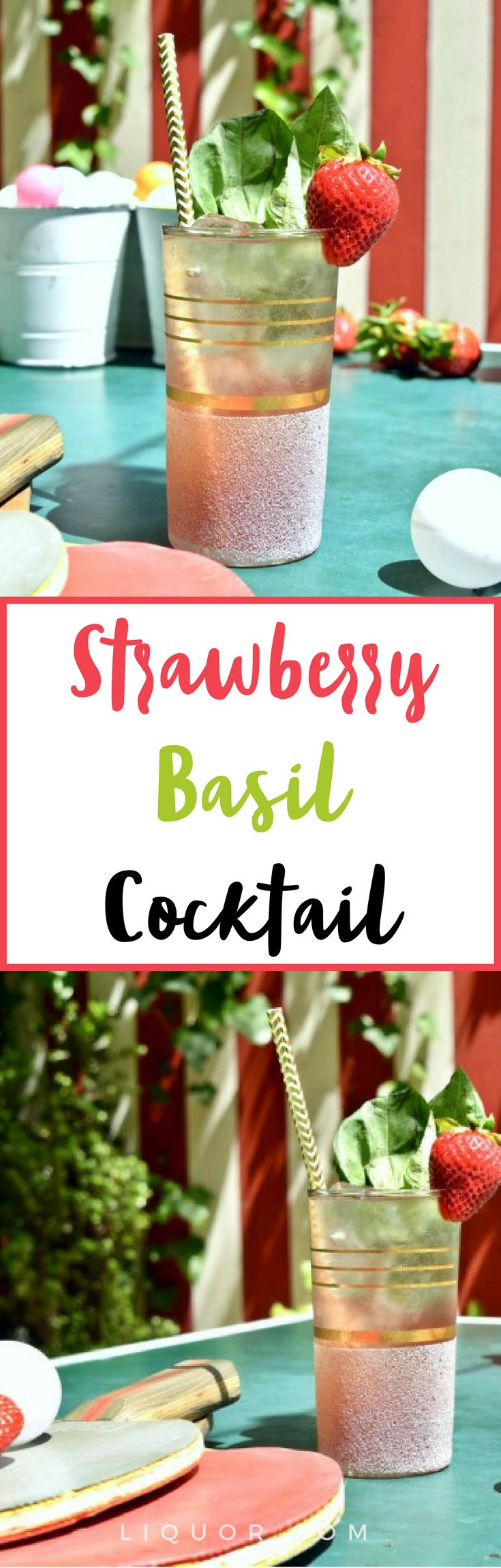 This #strawberry #basil #cocktail is a fruity dream come true