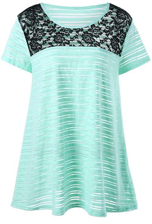 Plus Size Lace Insert Striped T-Shirt