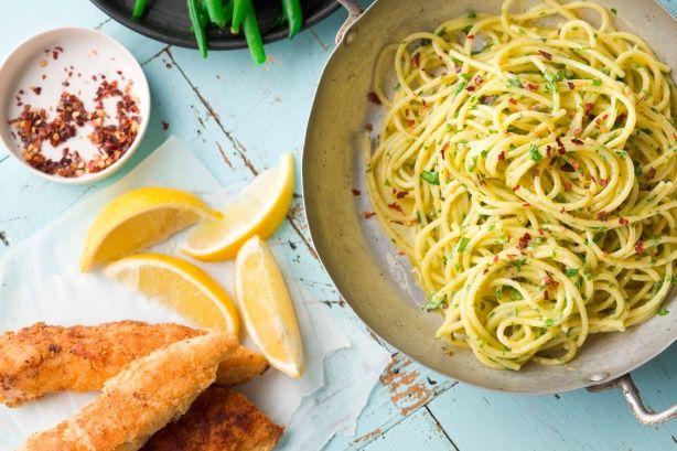 Gluten free chicken schnitzel and herb buttered spaghetti.