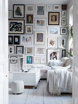 Love this idea with the pictures. I don't like to do white walls etc, but the photo idea is great.
