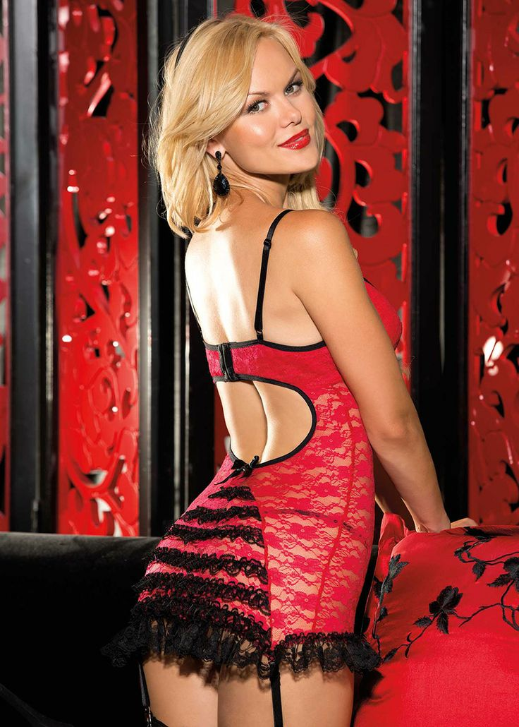 Shirley of Hollywood Stretch Lace & Ruffles Chemise £49.99 With padded push up underwired moulded cups, adjustable shoulder straps.  www.townoftoys.co.uk