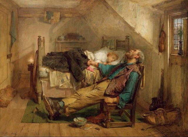 Thomas Faed (1816-1879), Worn out - 1868