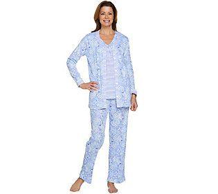 Carole Hochman Petite Ultra Jersey Moroccan Tile & Stripe 3-Pc Pajama Set