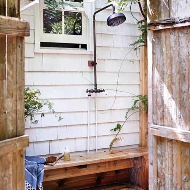 Embrace the simple life outdoors.  #livelifeoutdoors #outdoorshower #outdoorlife  Regram: @mintwhisk
