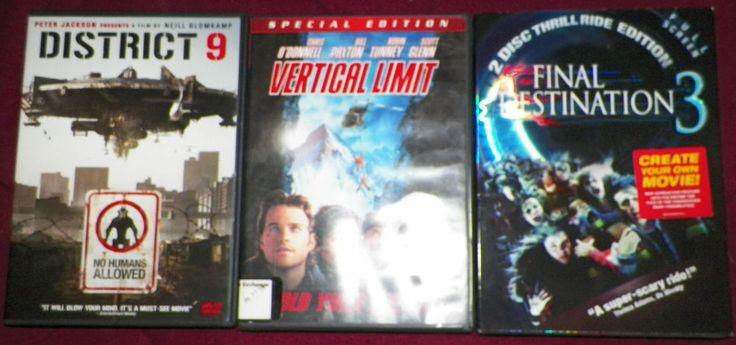 Lot of 3 DVD's - District 9; Vertical Limit; Final Destination 3