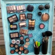 This is awesome, but since I only have one bathroom, everyone who comes over would have to see all my makeup.  I'd save this for when I have 2 bathrooms, or maybe do it on the inside of a cupboard.