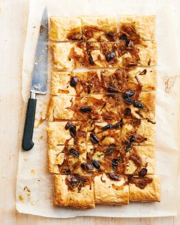 Our puff-pastry take on the pizzalike pissadaliere has slivered olives, anchovies, and plenty of onions. Using frozen puff pastry means it's perfect for last-minute get-togethers or casual cocktails.