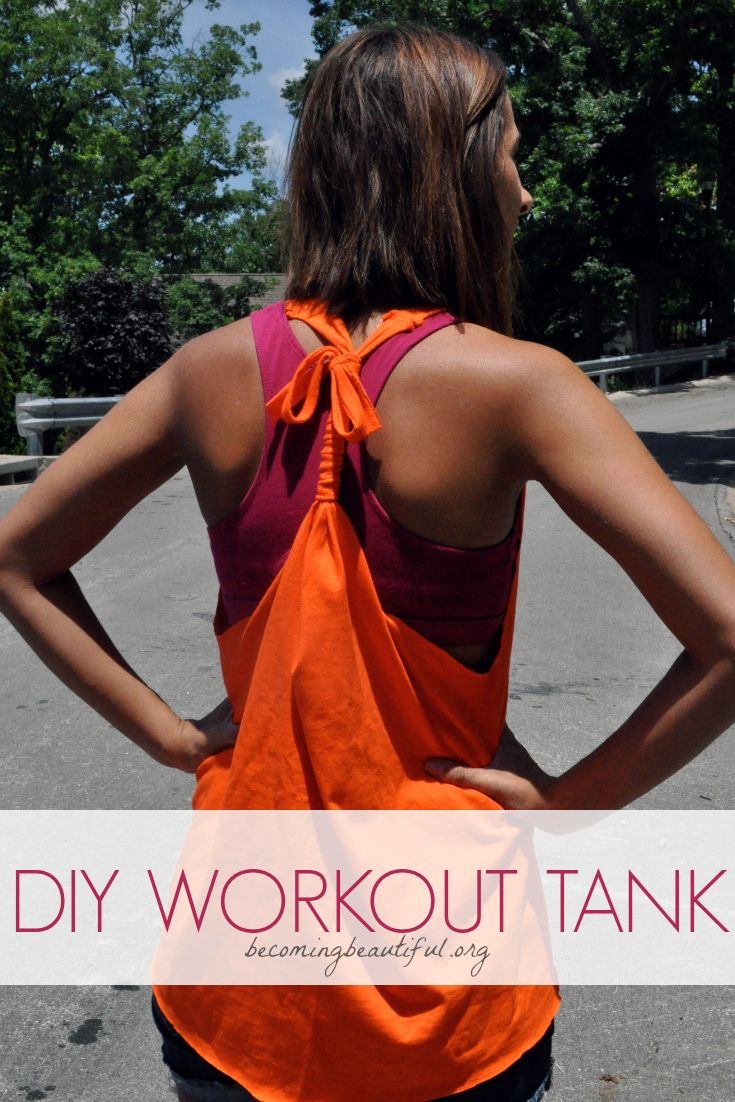 Turn your old baggy T-shirt into a super cute workout tank. (If only working out was as easy as making this shirt...) #DIY #EASY #tshirt