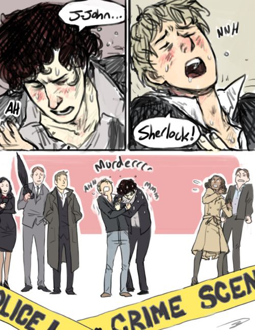 """I love everyone else's expressions, lol. Donovan & Anderson are like """"WTF"""" and Lestrade and Mycroft are like """"huh...whatever"""" XD"""