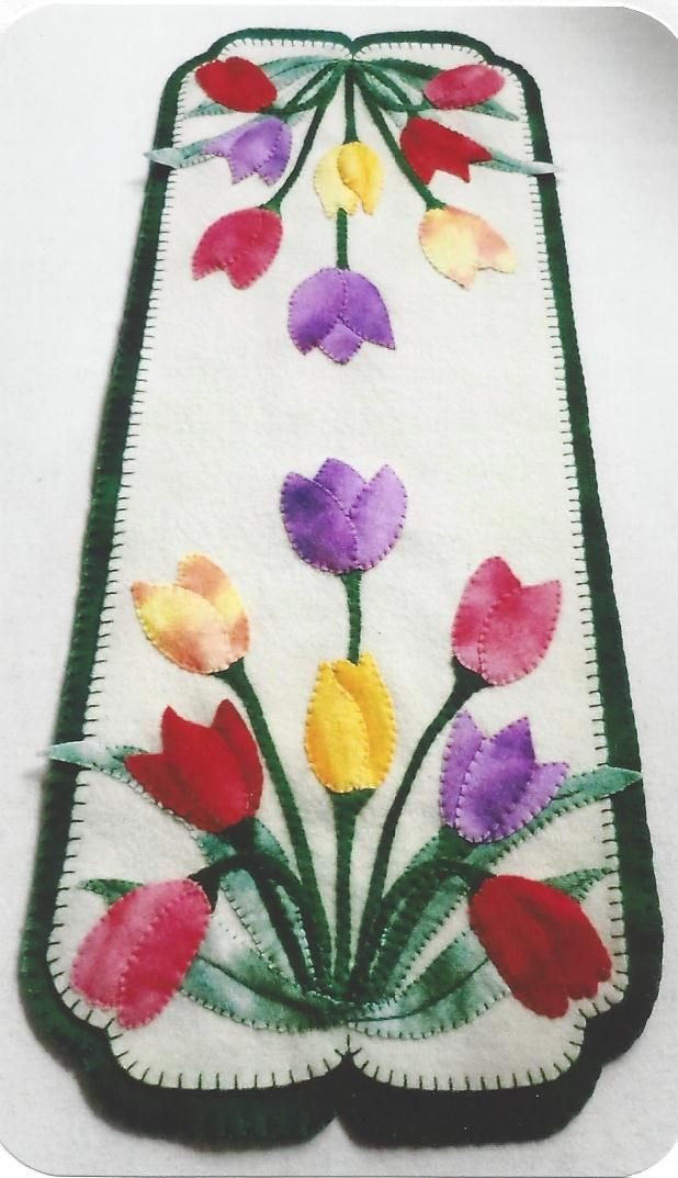 Cath's Pennies Designs Tulips The Pattern Hutch wool applique craft pattern penny rug tablerunner