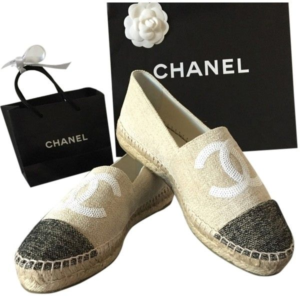 Pre-owned Chanel Beige Nib 16c Canvas White Sequins Cc Espadrilles... ($865) ❤ liked on Polyvore featuring shoes, flats, beige, espadrille flats, canvas flats, flat pumps, canvas shoes and white flats