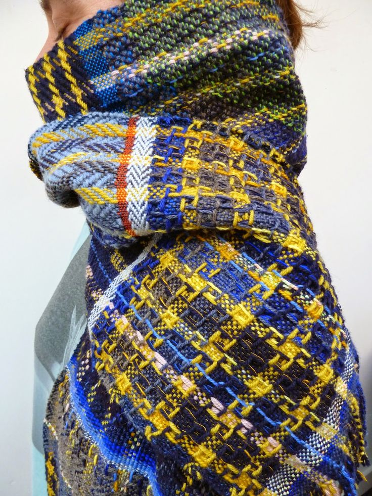 Exuberantly colored woven scarf by Belgian graphic designer and handweaver Ilse Acke. via the weaver's blog