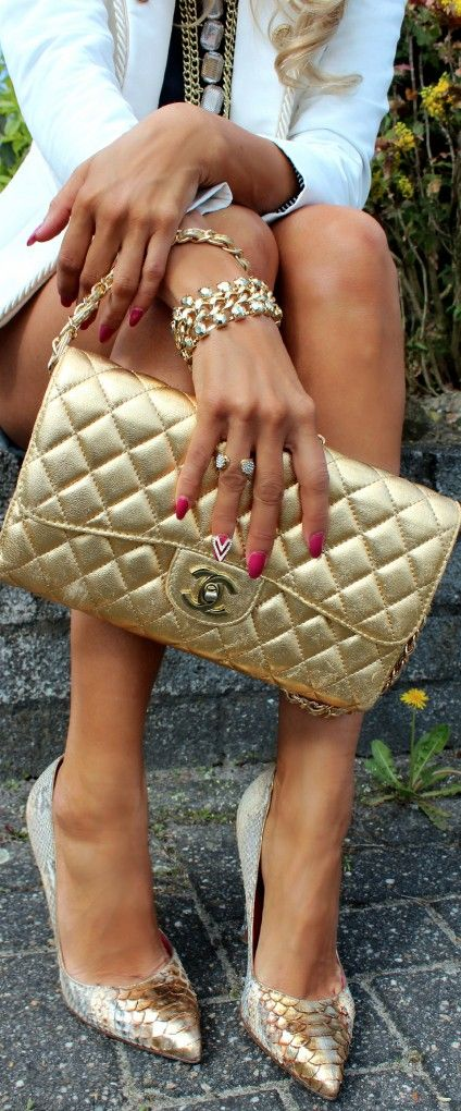 #street #style Chanel gold @wachabuy - Sale! Up to 75% OFF! Shop at Stylizio for women's and men's designer handbags, luxury sunglasses, watches, jewelry, purses, wallets, clothes, underwear