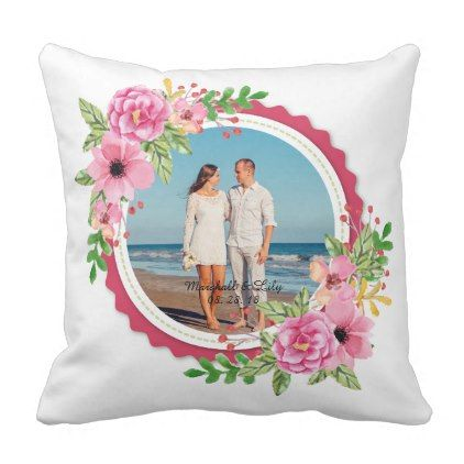 Elegant Add Your Own Photo Wedding Throw Pillow - anniversary cyo diy gift idea presents party celebration