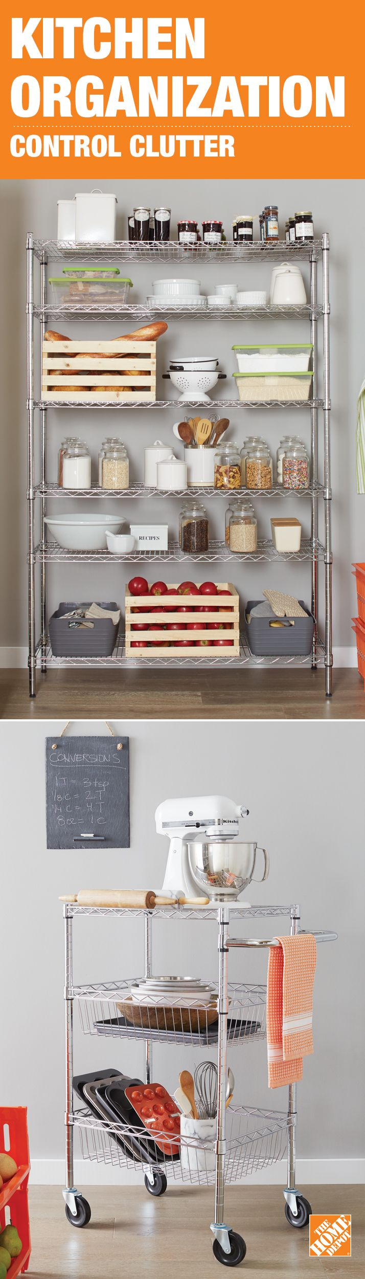 Simple wire shelving can be the perfect storage solution for a small kitchen pantry. Consider shelves on wheels that you can wheel out when in use, and back to the pantry when you're done. Click to shop all our storage solutions for any space at The Home Depot.