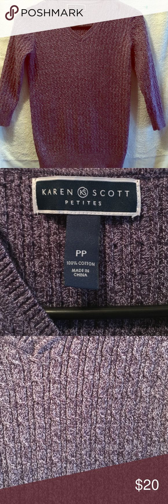 Karen Scott petites sweater 3/4 sleeve cotton Karen Scott Sweaters V-Necks