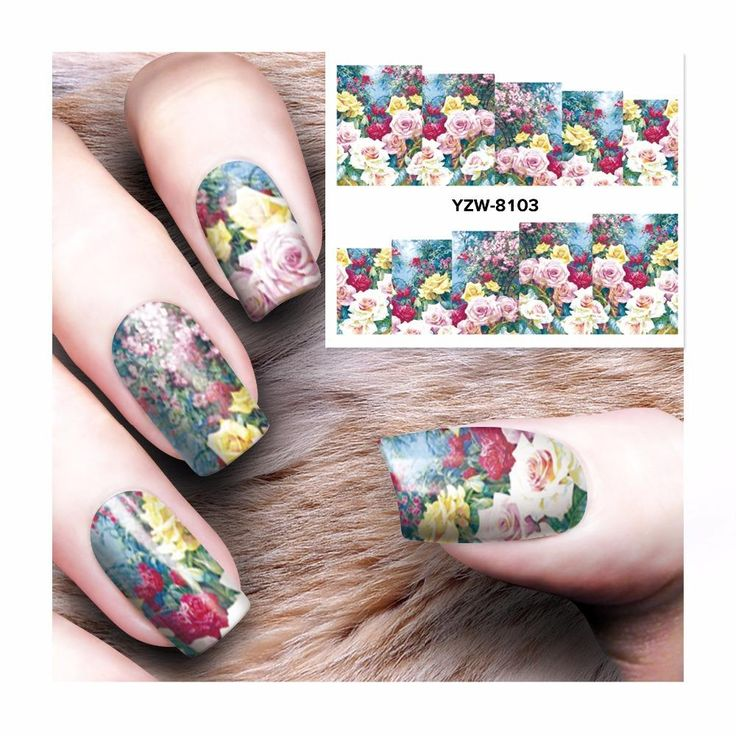 [Visit to Buy] FWC Flower Nail Stickers Beauty Nail Art Water Decal Decorations Sticker On Nails Accessories 8103 #Advertisement