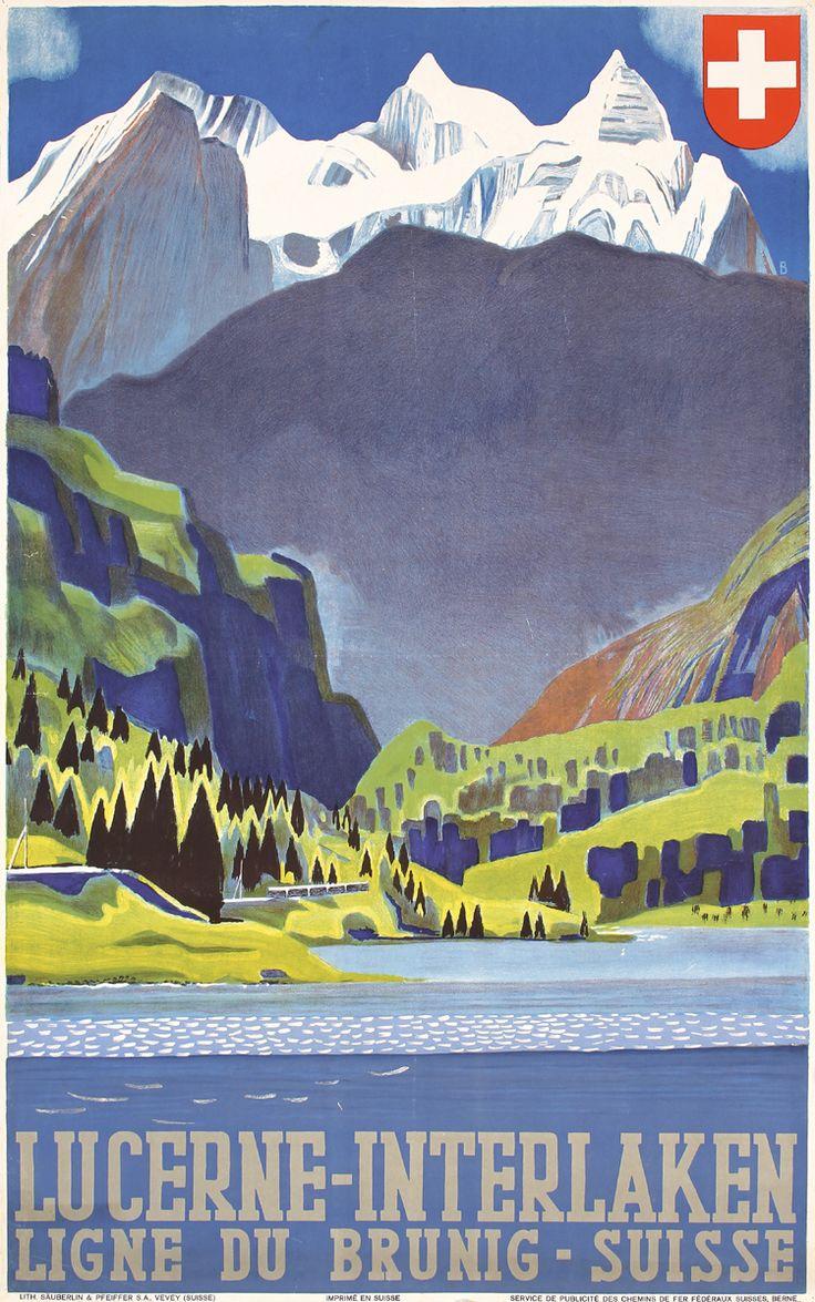 Rare Original 1930s Swiss Rail Travel Poster BAUMBERGER