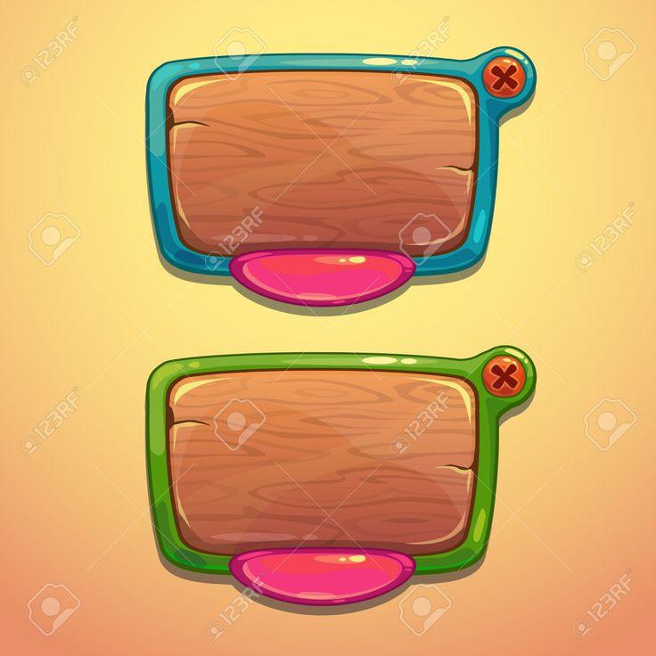 Cartoon Information Panels, Vector Game Ui Elements Royalty Free ...