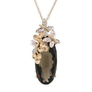 0.04ct Diamond & 9.85ct Smokey Topaz 14k Two-tone Rose Gold Pendant