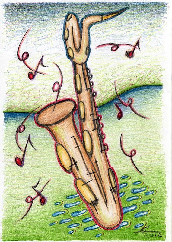 Postcard with saxophone drawing baritone sax by DeKleineKunstenaar, $2.00