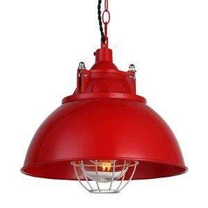 Lámpara colgante de techo con pantalla metálica y acabado en color rojo Ferrari