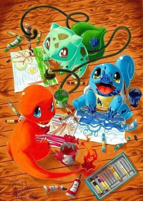 <3 My dear hobbies in same pic, pokémons and drawing.