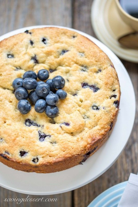 """Blueberry Breakfast Cake - a deliciously moist and lightly sweet """"coffee"""" cake bursting with fresh juicy blueberries"""