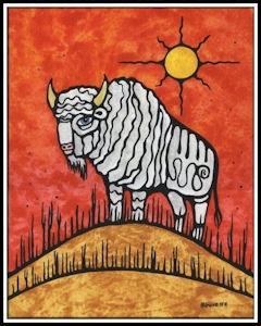Ayla Bouvette painting of a bison on a hilltop