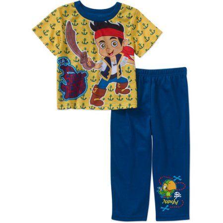 Jake and the Pirates Baby Toddler Boy Short Sleeve Sleepwear Set, Yellow