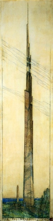 """""""The Illinois"""" Designed in 1956 for Chicago, Illinois by Frank Lloyd Wright. It was supposed to be a mile high. #Architecture #History"""