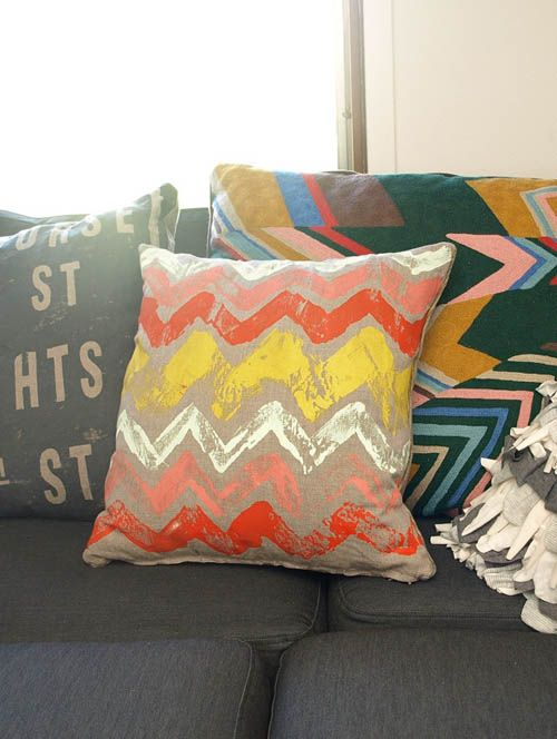DIY Monoprint Pillows: Monoprint Pillows, Diy'S, Monoprint Fabric, Diy Monoprint, Fabrics, Chevron Pillow