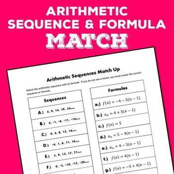 In this activity, students match arithmetic sequences with their formulas.  Formulas are in functions notation and subscript notation.  Questions follow asking for a certain term in a sequence.This activity can be used as a handout for practice or a cut and paste card sort.