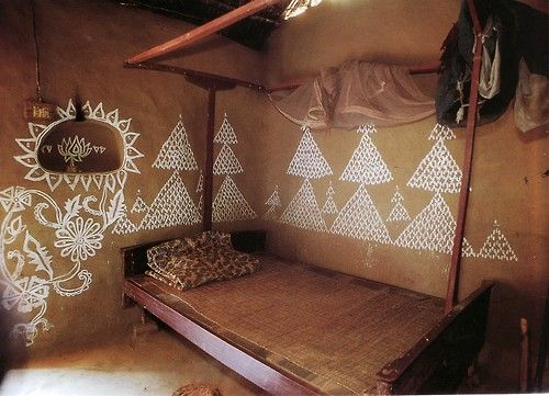 Indian mud house with painted wall. Source: Indian Interiors. Taschen Publishers via Moon to Moon