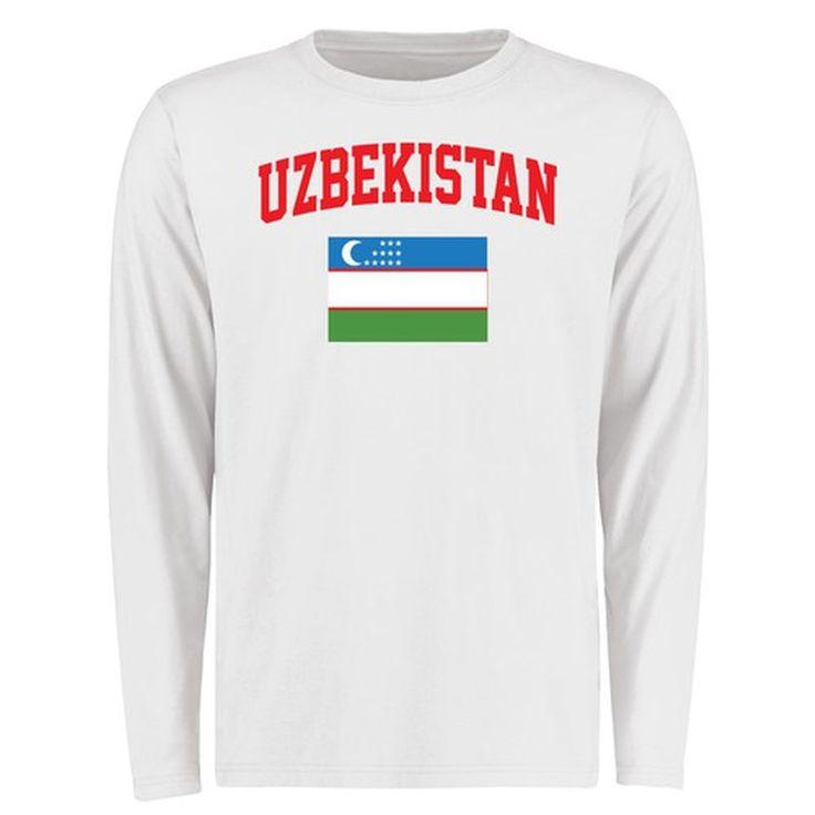 Uzbekistan Flag Long Sleeve T-Shirt - White