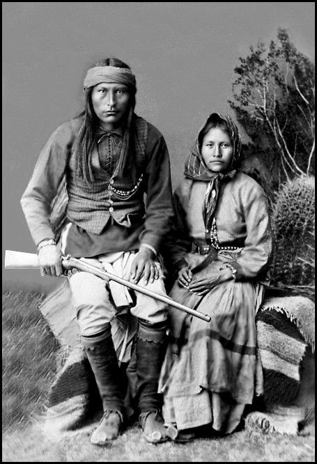 Naiche & his wife Ha-o-zinne. - In 1880, Naiche traveled to Mexico with Geronimo's band, to avoid forced relocation to the San Carlos Apache Indian Reservation in Arizona. They surrendered in 1883 but escaped the reservation in 1885, back into Mexico. They were captured in 1886, and Naiche and others were imprisoned in Fort Marion in St. Augustine, Florida.