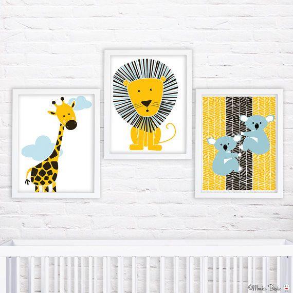 Nursery wall art, baby nursery decor, nursery print, Kids art, giraffe, lion, koala, Set of three 8x10 prints- Jungle Animals 2